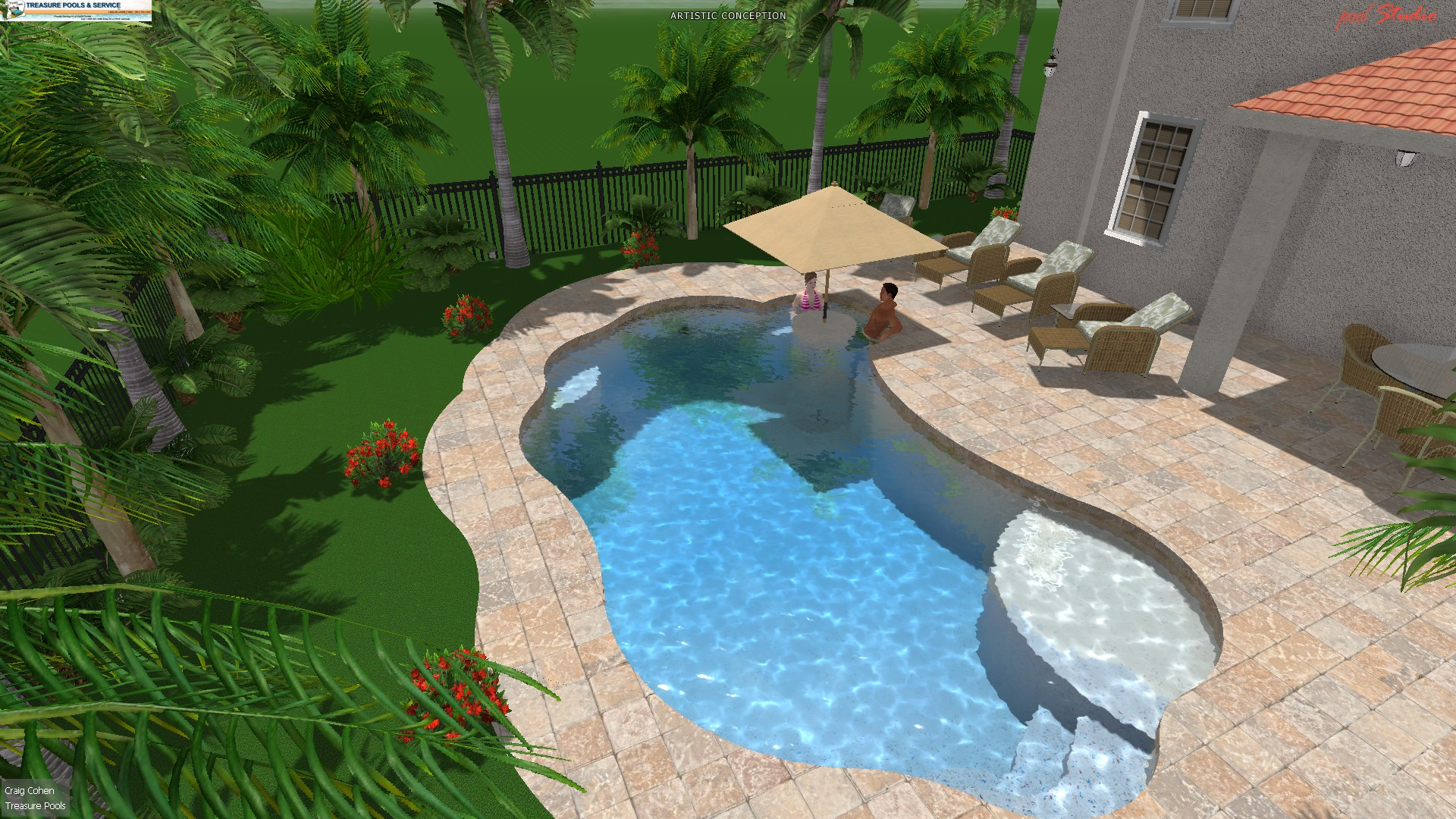 Treasure pools and service 3d pool design treasure pools for Pool design services